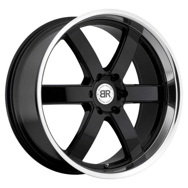 Black Rhino Pondora 20x8.5 6x139.7 ET18 CB 112.1 Gloss Black w/Mirror Machine Cut Lip Wheel