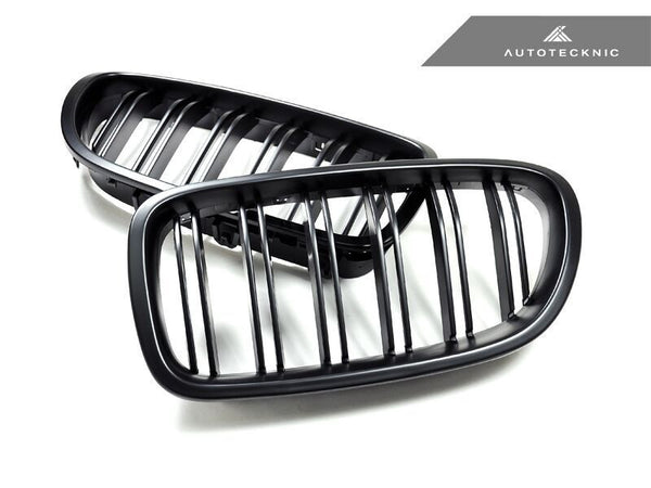 Autotecknic Replacement Dual-Slats Stealth Black Front Grilles BMW F10 5-Series
