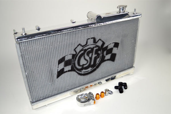 "CSF Radiators ""O"" Series All Aluminum Race-Spec Radiators w/ Built in Oil Coolers 2002-2007 Subaru STI/WRX"