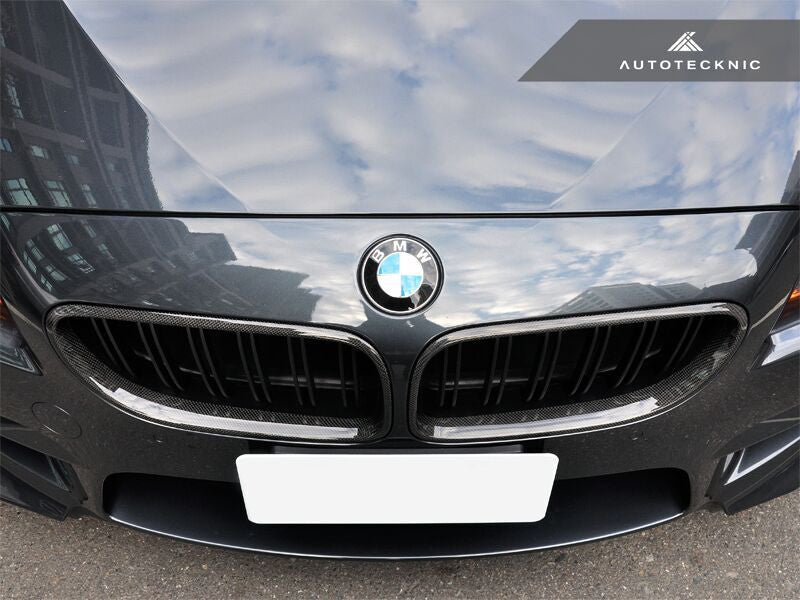 AutoTecknic Replacement Dual-Slats Carbon Fiber Front Grilles BMW F06 Gran Coupe / F12 Coupe / F13 Cabrio | 6 Series & M6