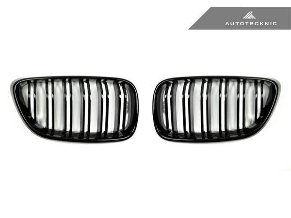 AutoTecknic Replacement Dual-Slats Glazing Black Front Grilles BMW F22 2-Series