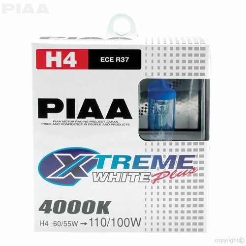PIAA XTreme White Plus Twin Pack Halogen Bulb (9003) H4 60/55W