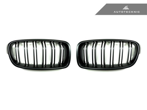 Autotecknic Replacement Dual-Slats Stealth Black Front Grilles BMW F30 3-Series