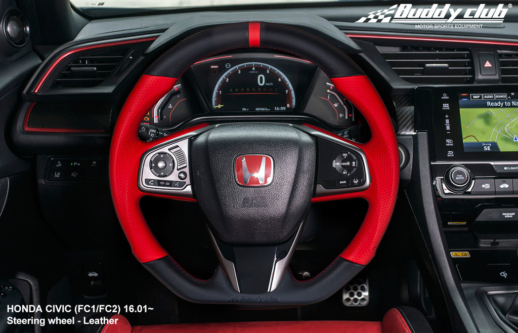 Buddy Club Time Attack Edition Steering Wheel Leather 2016+ Honda Civic  FC/FK 2 / 4 / 5 / TYPE R (1.5L/2.0L)