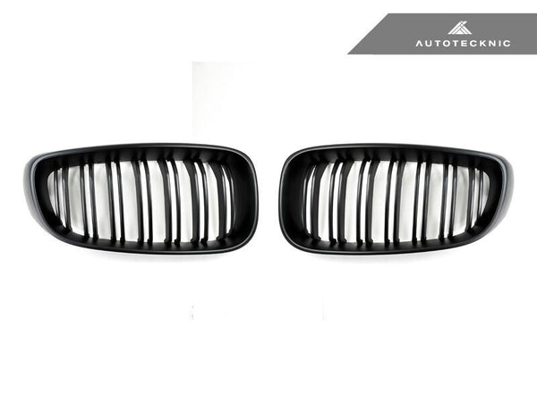 AutoTecknic Replacement Dual-Slats Stealth Black Front Grilles BMW F34 3-Series Gran Turismo