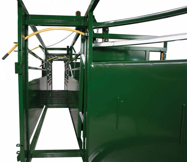 PORTABLE SQUEEZE CHUTE, ADJUSTABLE ALLEY, AND BUDFLOW TUB