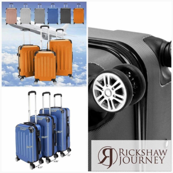 "3Pcs 20"" 24"" 28"" Luggage Travel Set Bag TSA Lock ABS Trolley Spinner Carry On... 