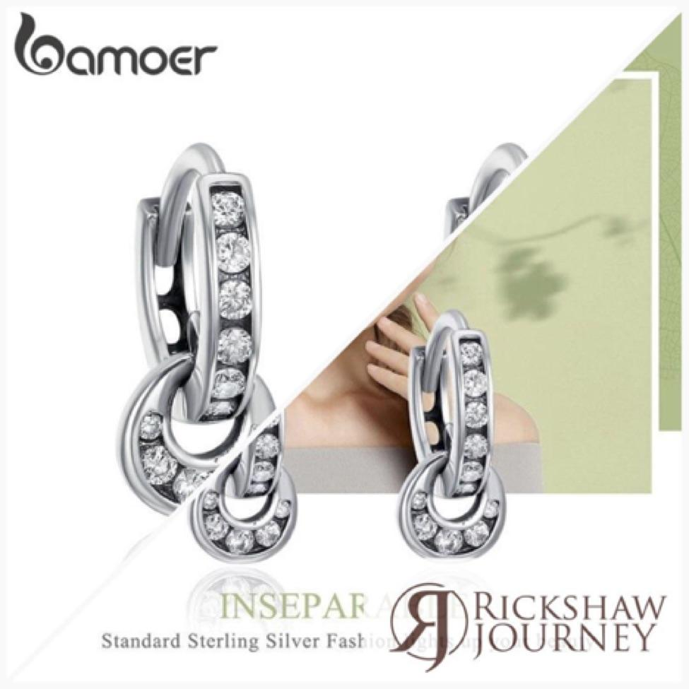 BAMOER 925 Sterling Silver Double Circle Dazzling CZ Round Hoop Earrings for...