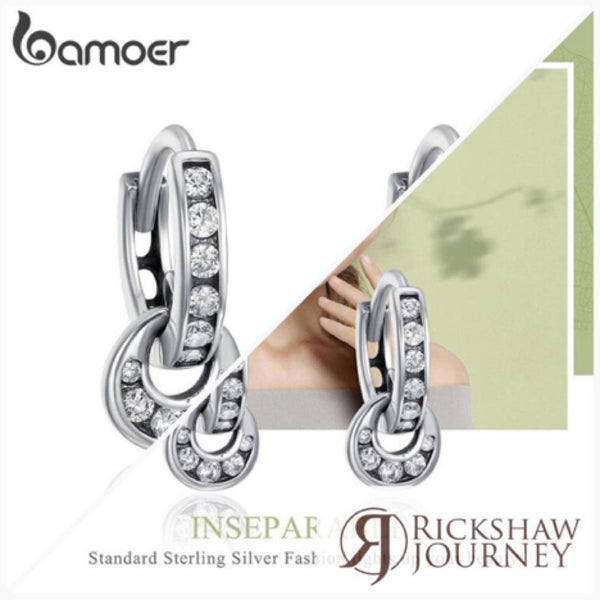 BAMOER 925 Sterling Silver Double Circle Dazzling CZ Round Hoop Earrings for... | Rickshaw Journey