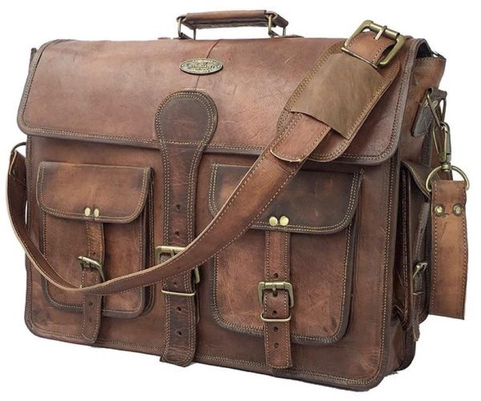 Briefcase - 18 Inch Vintage Handmade Leather Messenger Bag for Laptop