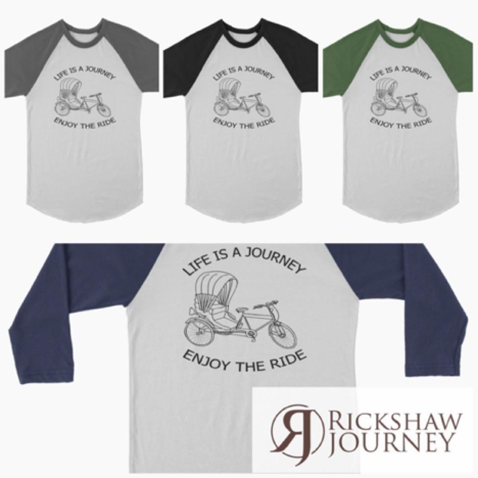 Canvas Unisex 3/4 Raglan Life is a Journey Enjoy the Ride for just $21.99.