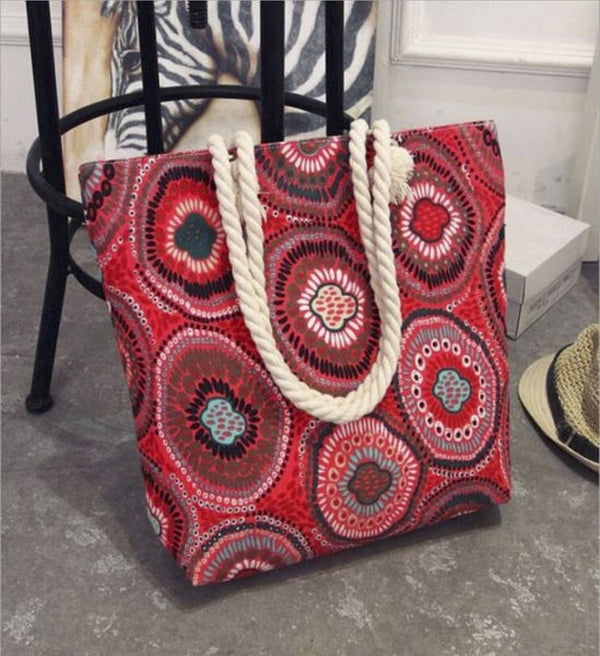 Fashion Folding Women Big Size Handbag Tote Ladies Casual Flower Printing Canvas | Rickshaw Journey