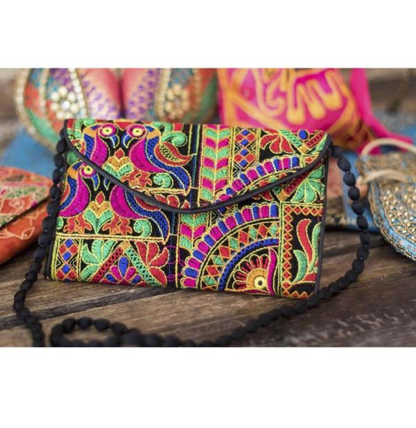 Indian cloth handbags multi-color cloth clasp and zip purse | Rickshaw Journey