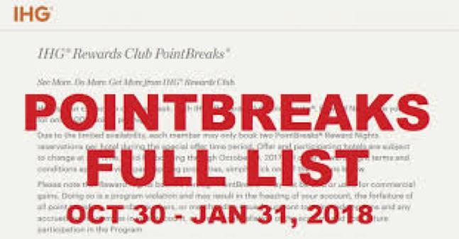 Latest IHG Point Break list is now bookable