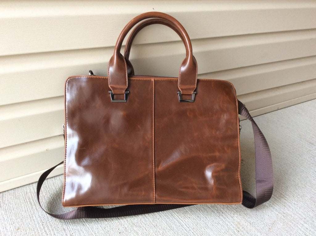 Loving my new 14 1|2 inch brown leather briefcase, fits lots of stuff!