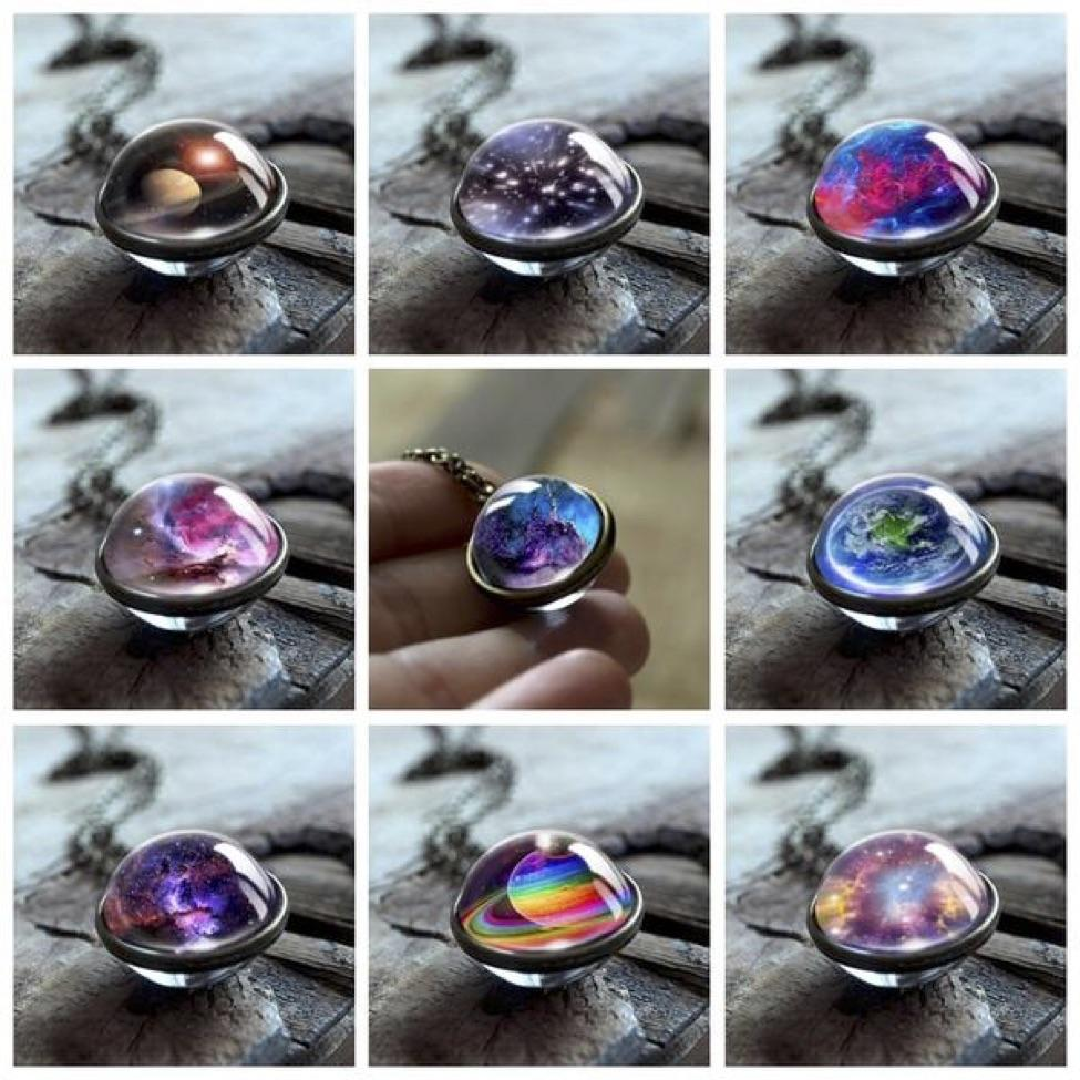 Nebula Galaxy Double Sided Pendant Necklace Glass Art