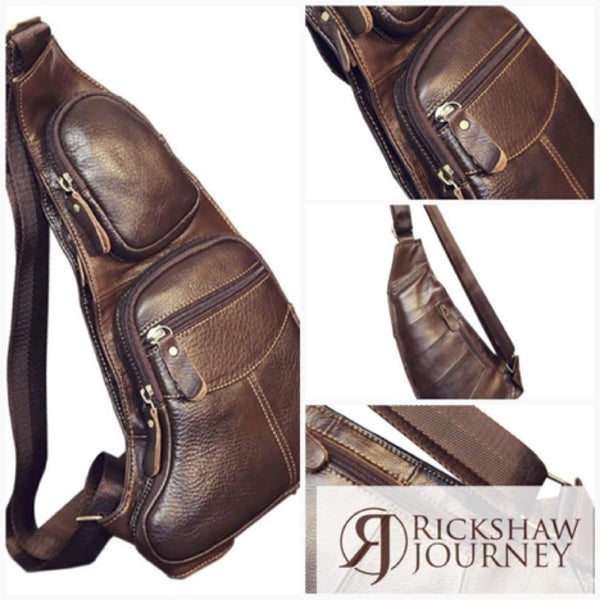 Sling Day pack - Mens Genuine Leather Cowhide Vintage messenger bag for just... | Rickshaw Journey
