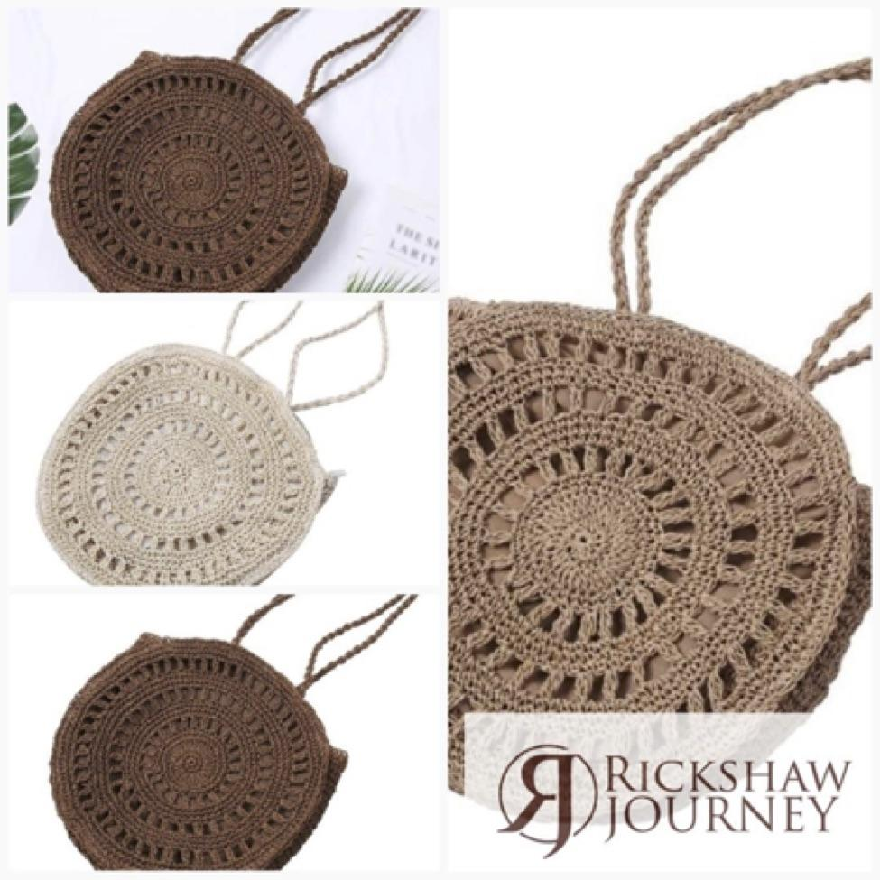 Women's Woven Hollow Handbags Fashion Round Rattan Shoulder Bag for just $31.99....