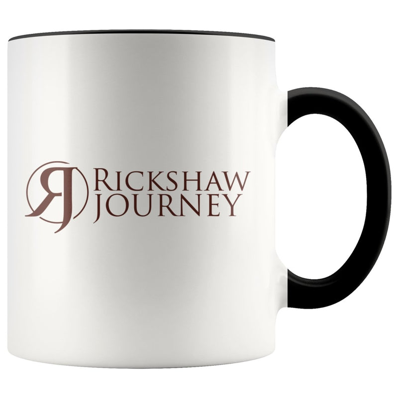 Accent coffee mug, 11 ounce with Rickshaw Journey logo - Rickshaw Journey