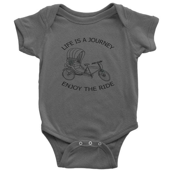 Baby Bodysuit - Onesie Life is a Journey enjoy the ride with Rickshaw - Rickshaw Journey