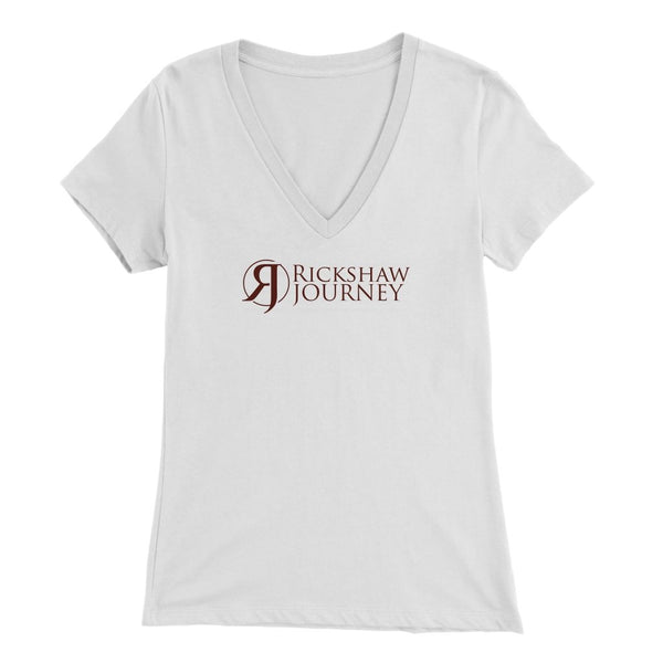Bella Womens V-Neck with Rickshaw Journey Logo - Rickshaw Journey