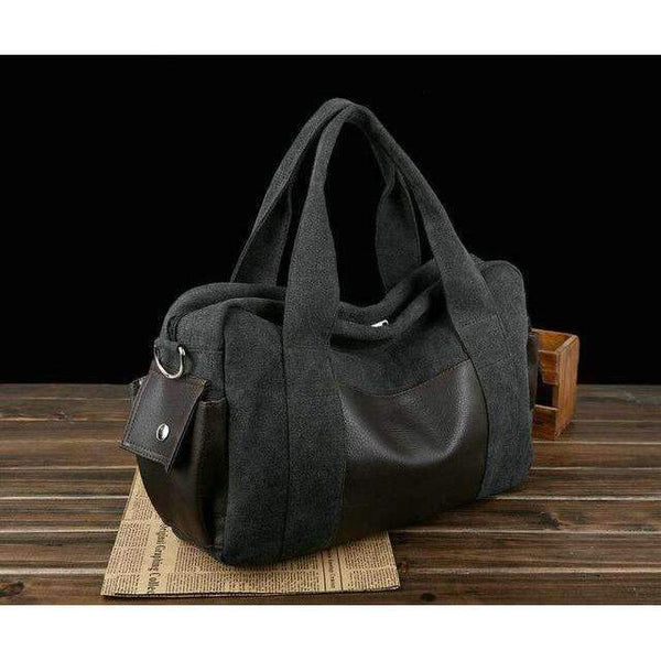 Chuwanglin Canvas Leather Men Travel Bags Carry on Overnight Luggage - Rickshaw Journey