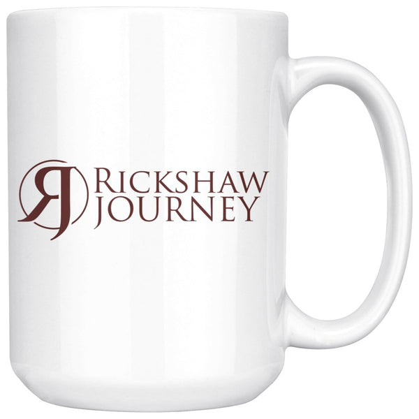 Coffee Mug with Rickshaw Journey logo, 15 ounce - Rickshaw Journey
