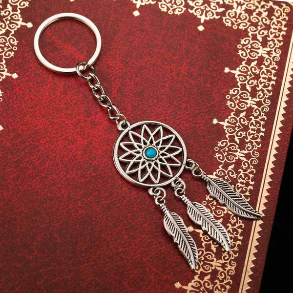 FAMSHIN Fashion Dream Catcher Tone Key Chain Silver Ring Feather Tassels Keychain Around The Waist Key Chain For Gift 2018 New - Rickshaw Journey