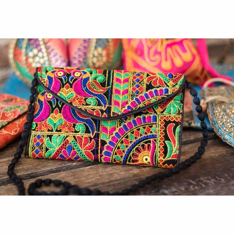 Indian cloth handbags multi-color cloth clasp and zip purse - Rickshaw Journey