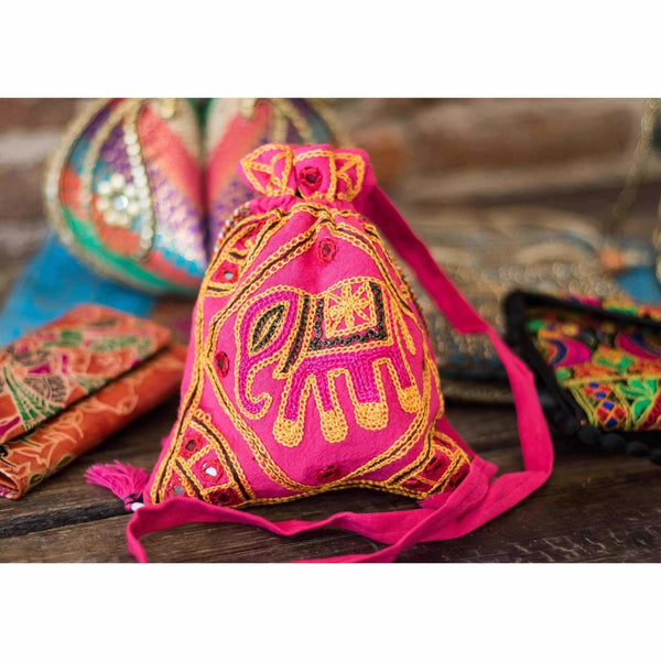 Indian cloth purse with strap Pink Elephant design - Rickshaw Journey