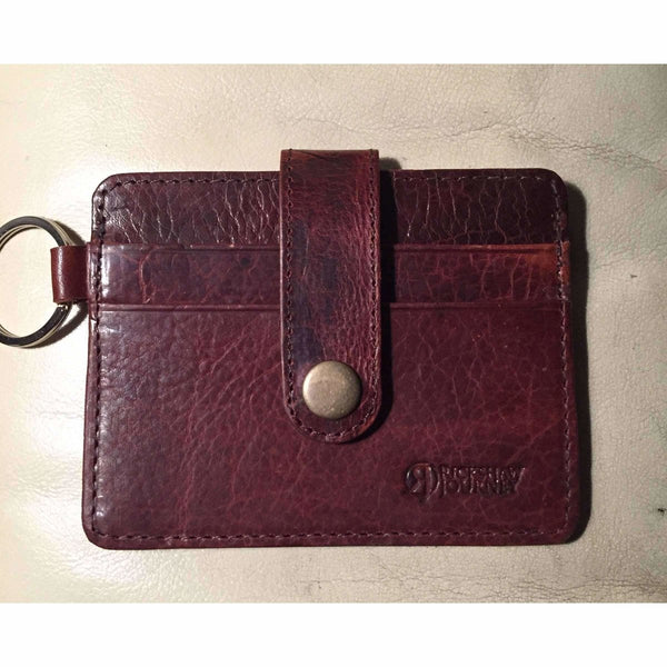 Leather keyring wallet, reddish brown crunch leather with key ring - Rickshaw Journey