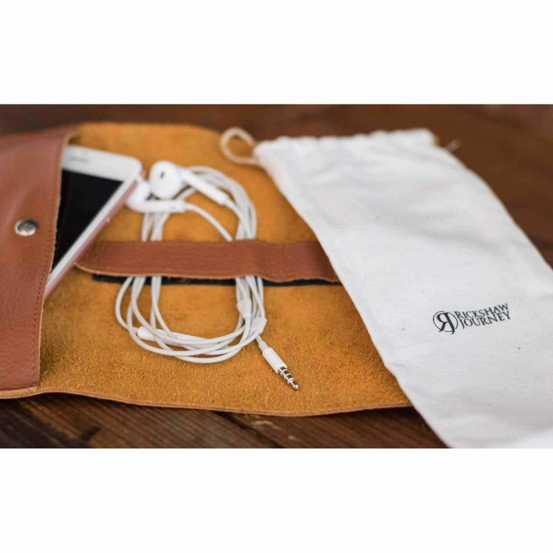 Leather roll up bag for Earbuds | Passport | Power Cords - Rickshaw Journey