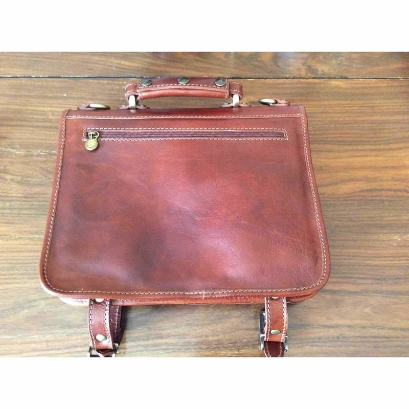 men's classic Italian leather briefcase12 1|2 by 10 by 3 inches - Rickshaw Journey