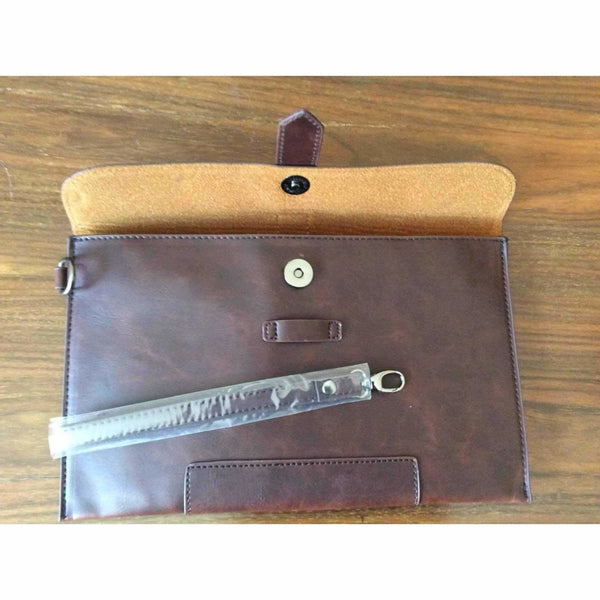 Mens leather pouch wallet 11 1|4 inches by 6 1|2 inches - Rickshaw Journey