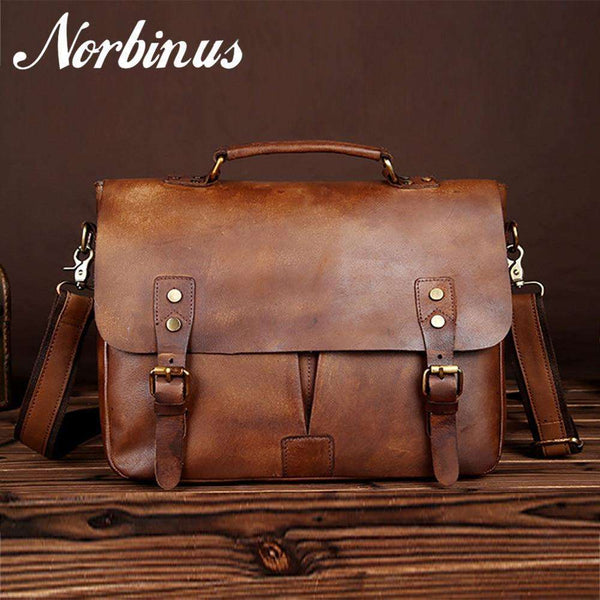 Norbinus Genuine Leather Men Business Briefcase,Briefcase
