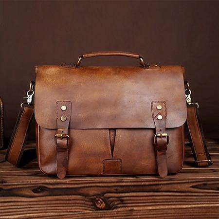 Norbinus Genuine Leather Men Business Briefcase
