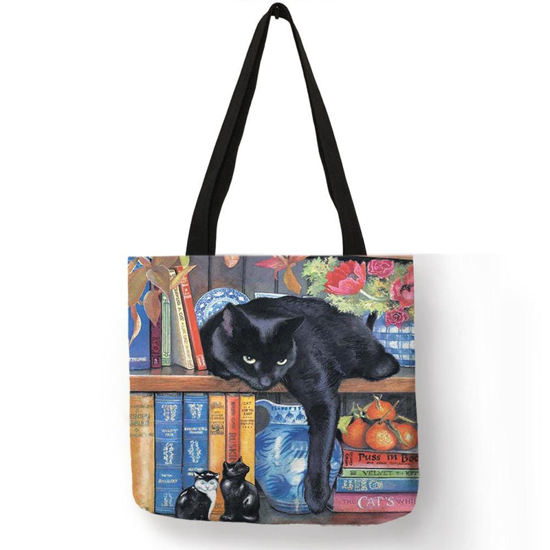 Oil Painting Cat Print Women Tote Bags Linen Reusable Shopping Bag Shoulder Bags - Rickshaw Journey