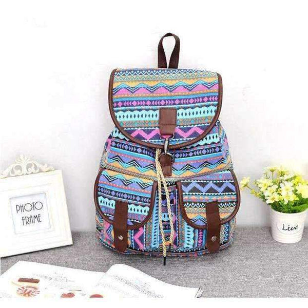 student backpack school bag ethnic printing canvas backpack - Rickshaw Journey