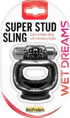 Super Stud Sling With Vibe Cock Ring (Black)