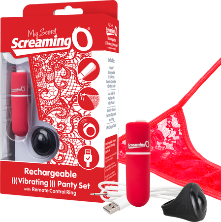 Rechargeable Vibrating Panty Set (Red)