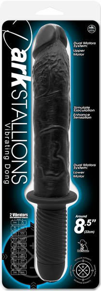 "Dark Stallions 8.5"" Vibrating Dong (Black)"