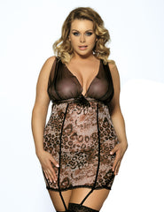 +Size Sheer Bust Leopard Print Chemise & G-String With D/Garter Straps-XL