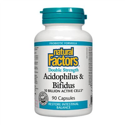 Natural Factors Acidophilus & Bifidus Double Strength 10 Billion Active Cells 90 Capsules