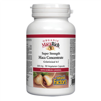 Natural Factors Organic MacaRich® Super Strength Maca Concentrate 500 mg 90 VCapsules