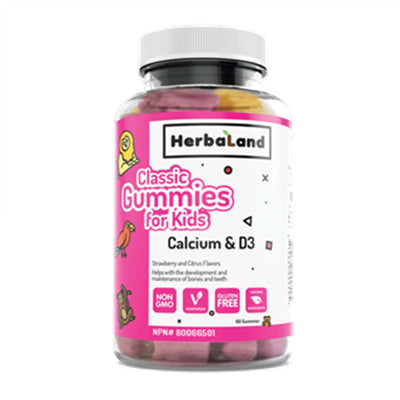 Herbaland Classic Gummy for Kids Calcium & D3 60 Gummies