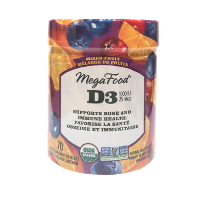 MegaFood Wellness Vitamin D 1000IU Mixed Fruit 70 Gummies