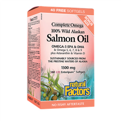 Natural Factors 100% Wild Alaskan Salmon Oil 1300 mg Complete Omega 220 Softgels