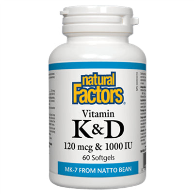 Natural Factors Vitamin K & D 120 mcg & 1000 IU 60 Softgels
