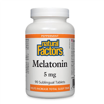 Natural Factors Melatonin 5 mg, Peppermint 90 Sublingual Tablets