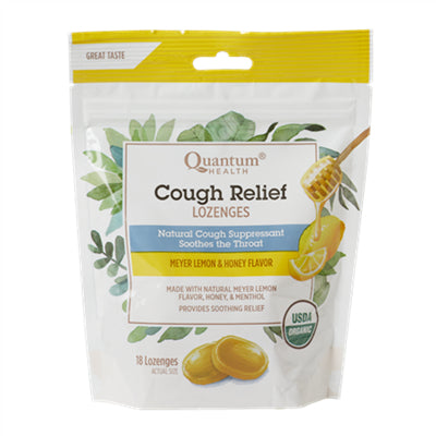 Quantum Organic Cough Relief Meyer Lemon 18 Lozenges